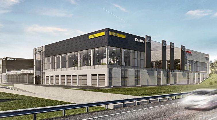 LänsiAuton uuden Espoon autotalon elementit Parmalta